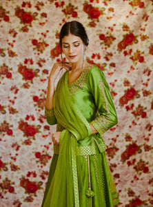 Green Zardozi Embroidered Short Kurti with Lehenga & Dupatta