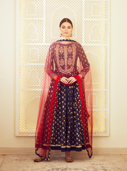 Navy Blue Embroidered Long Kurta with Dupatta & Trouser