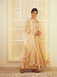 Beige Block Printed Long Kurta with Dupatta and Trouser