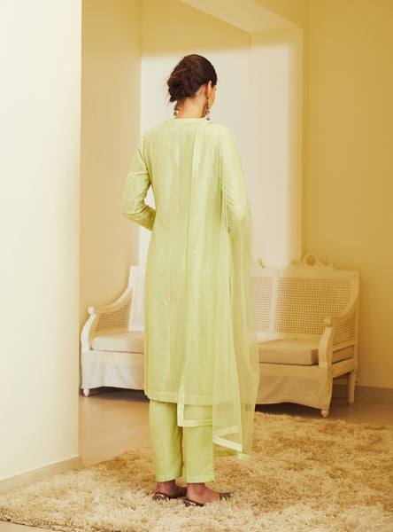 Light Green Embroidered Kurta with Trouser and Dupatta