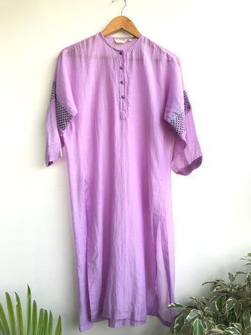 Lavender Chanderi Tunic With Embroidered Sleeves