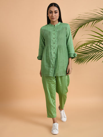 Green Front Placket Kota Cotton Shirt With Matching Slip