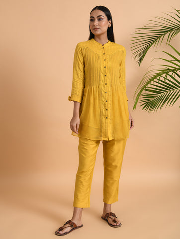 Yellow Front Placket Kota Cotton Shirt With Cotton Slip