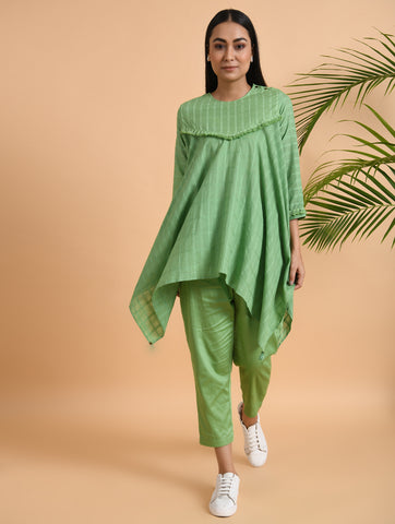 Green Asymmetric Cotton Top With Decorated Yoke & Tassel Lace