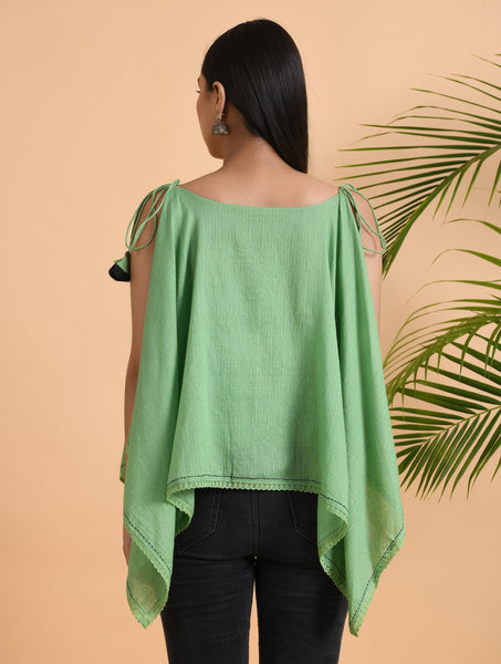 Green Cotton Asymmetric Top With Delicate Shoulder Straps