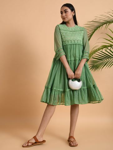 Green Flouncy Tiered Dress in Kota Cotton With Lace Yoke