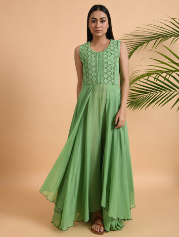 Green Cotton Double Layer Dress With Lace Yoke & Embroidered Hemline
