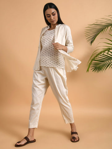 Ivory Cotton Silk Pants With Side Pockets & Elasticated Waist Band