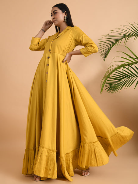 Yellow Cotton Front Open Jacket Dress
