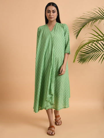 Green Cotton Cape With Lace Detailing