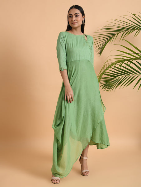 Green Overlap Yoke Cotton Dress With Cowl Drape & Lace Detailing
