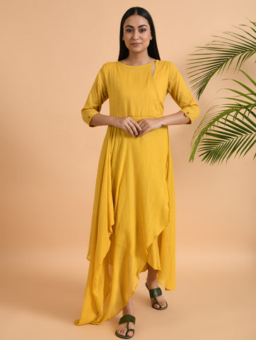 Yellow Overlap Yoke Cotton Dress With Cowl Drape & Lace Detailing