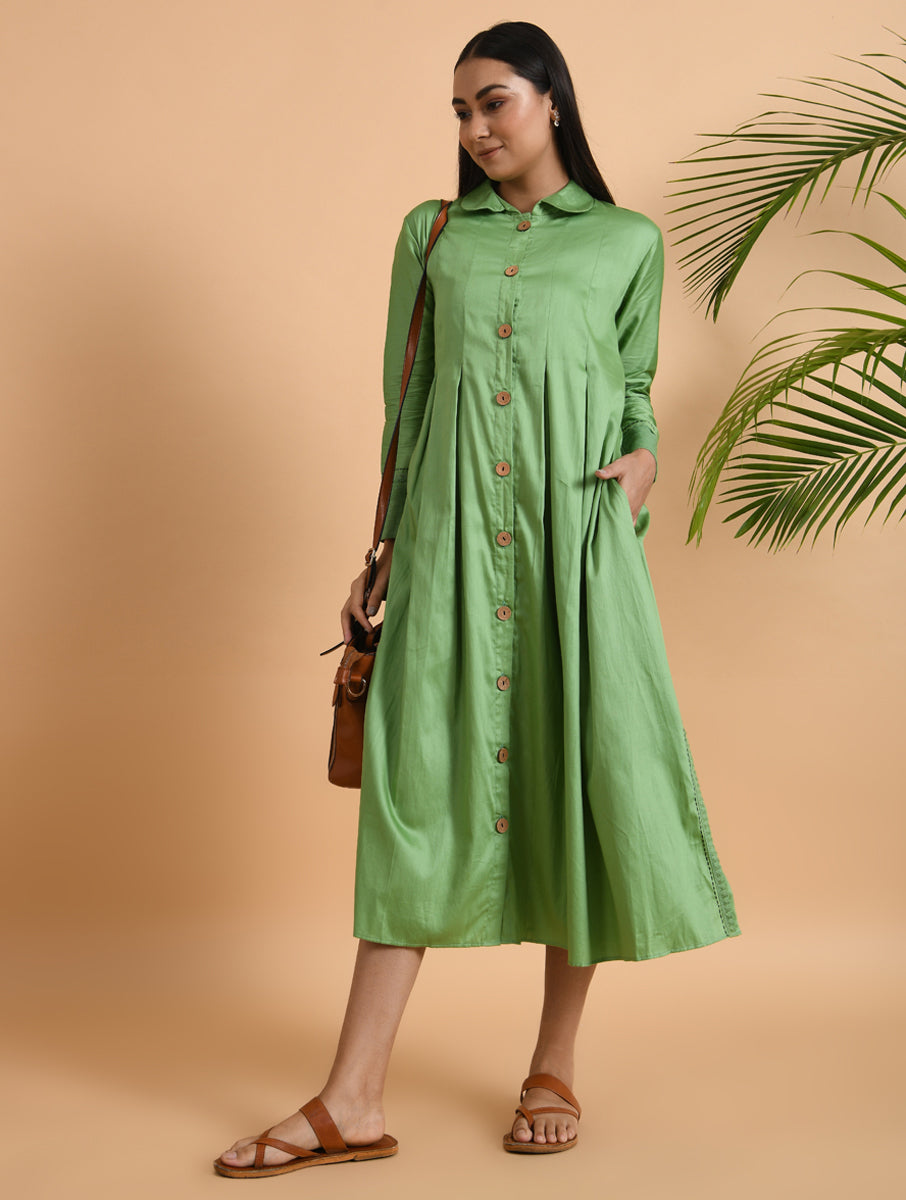 Green Box Pleated Front Open Cotton Jacket