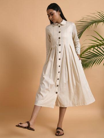 Ivory Cotton Box Pleated Front Open Jacket