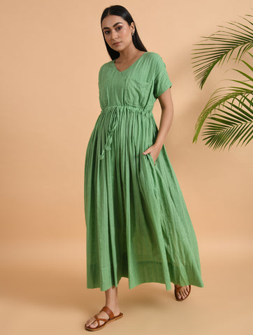 Green Long Maxi Dress With Drawstring At Waist & Double Pockets