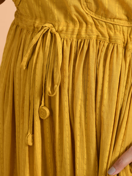 Yellow Long Maxi Dress With Drawstring At Waist & Double Pockets