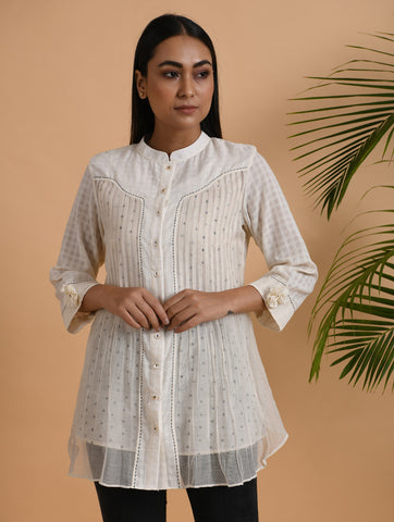Ivory Front Placket Kota Cotton Shirt With Slip