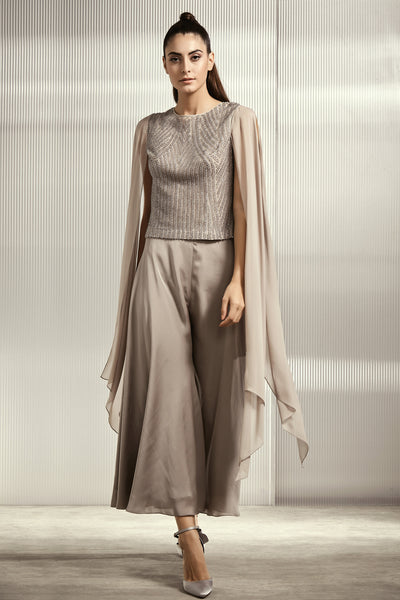 Silver Grey Crystal Embellished Top With Cape Sleeves
