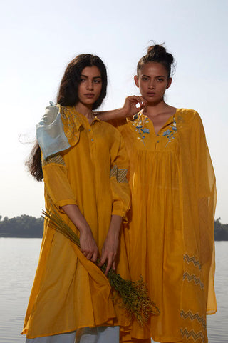 Yellow Chanderi Tunic With Embroidered Sleeves