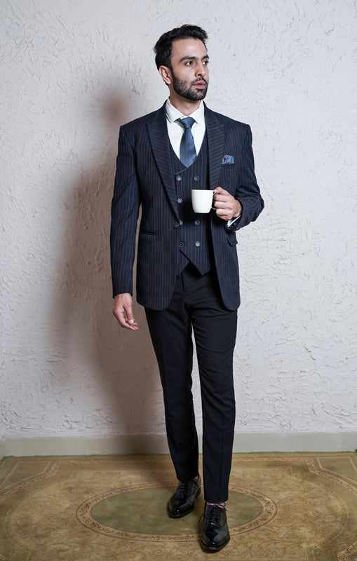 Navy Blue Mild Striped Suit With Waistcoat
