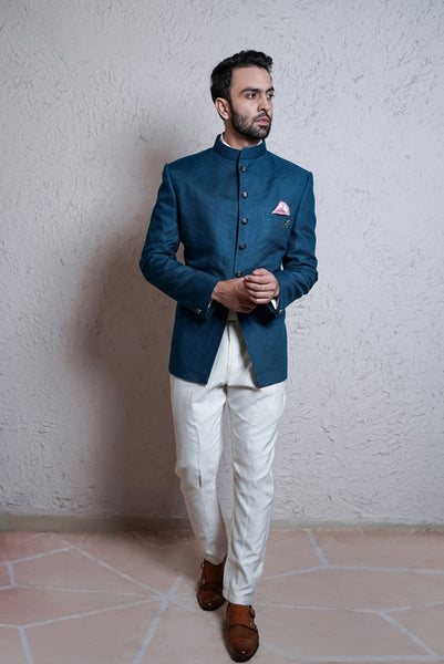 Turquoise Bandhgala With White Trouser