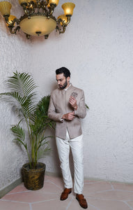 Light Brown Bandhgala With White Trouser