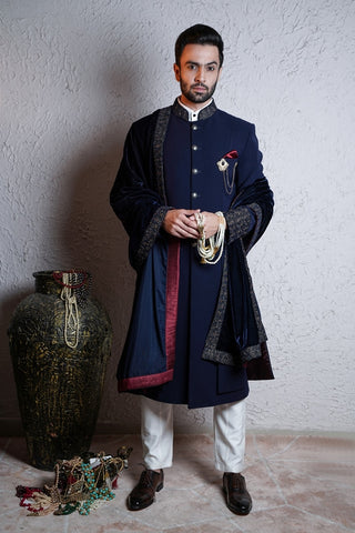Navy Blue Indo-Western With Shawl