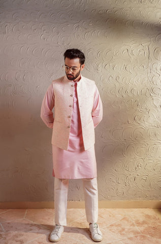 Pink Thread Work Koti & Kurta