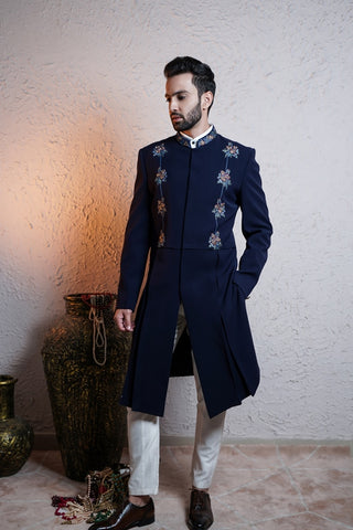 Navy Blue Indo-Western With White Pants