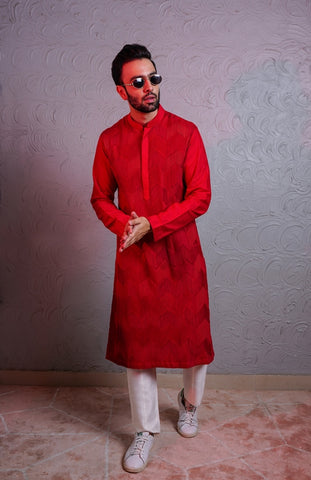 Red Pintex Kurta And Off White Pants