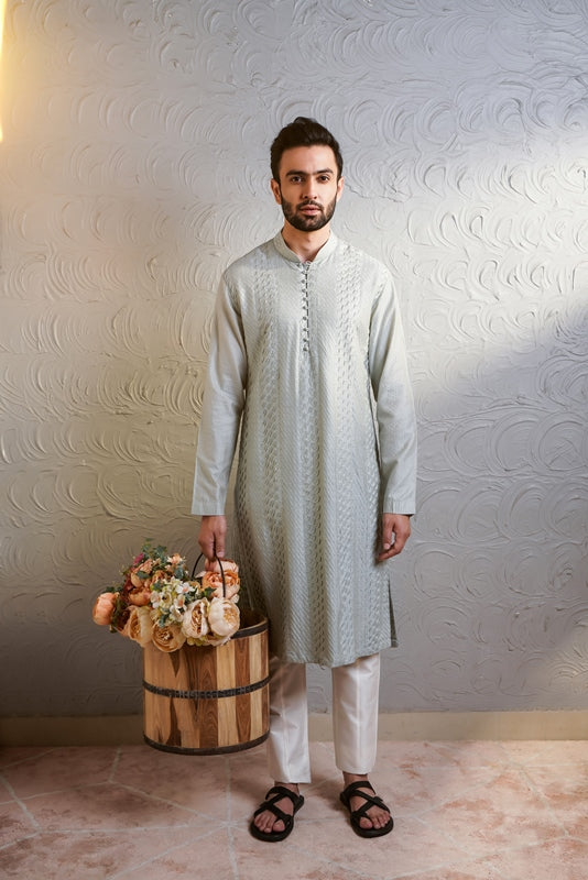 Light Blue Pintex Kurta And Off White Pants