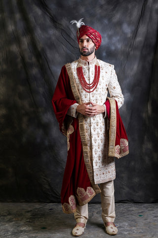 Ivory Embroidered Sherwani With Maroon Stole