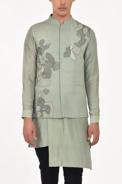 Pine Silk Embroidered Waist Jacket