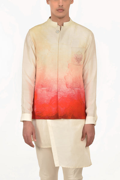 Ivory & Blush Ombre Digital Print Waist Jacket