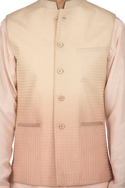 Almond & Blush Ombre Quilted Silk Waist Jacket