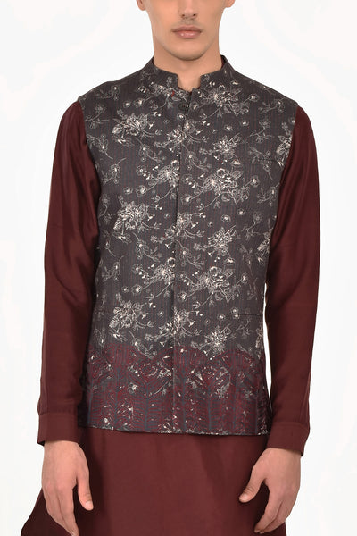 Navy Fort Digital Print Cotton Silk Waist Jacket