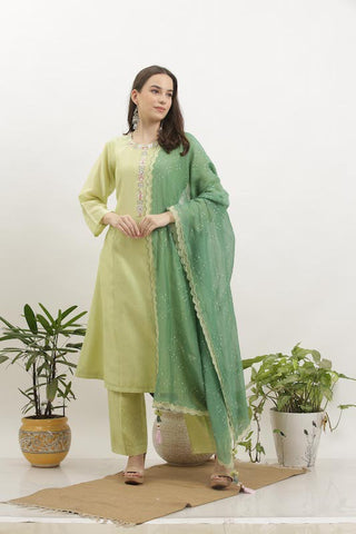 Light Green Cotton Silk Kurta Set
