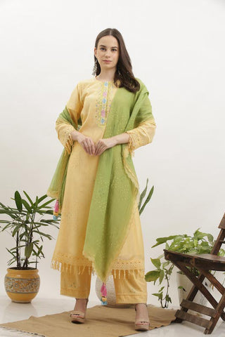 Pale Yellow Cotton Silk Kurta Set