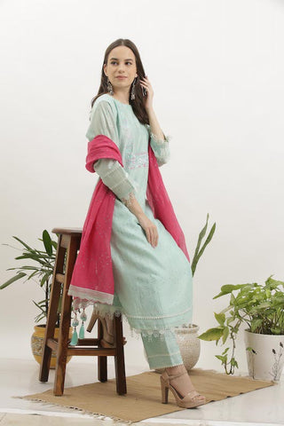 Sky Blue Cotton Silk Kurta Set