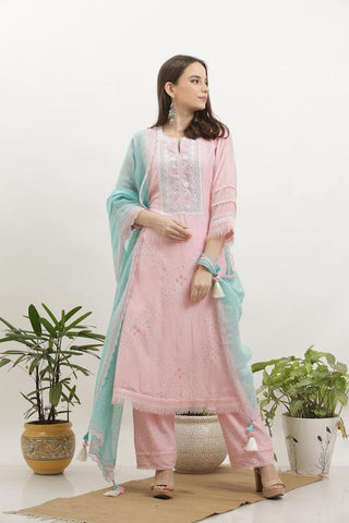 Blush Cotton Silk Kurta Set