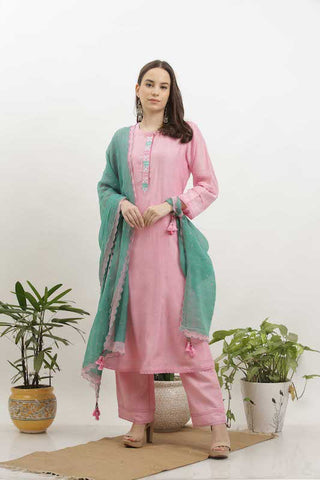 Pink Cotton Silk Kurta Set