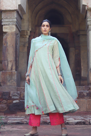 Powder Blue Kurta With Side kalis & Hand Embroidered Sleeves With Embroidered Silk Palazzo & Scalloped Dupatta
