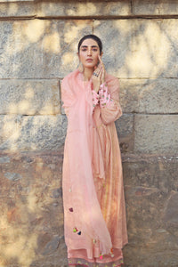 Peach Chanderi Kurta With Hand Embroidered Cuffs Paired With Palazzo & Applique Embroidered Dupatta