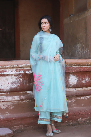 Powder Blue Chanderi Kurta With Embroidered Bell Sleeves & Back Yoke Paired With Floral Embroidered Palazzo & Applique Dupatta