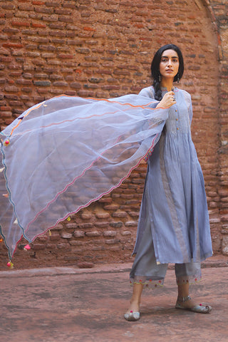 Grey Chanderi Kurta With Embroidered Sleeves & Back Yoke Paired With Floral Embroidered Palazzo & Scalloped Dupatta