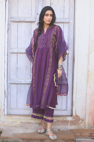 Purple Chanderi Kurta With Embroidered Sleeves & Back Yoke Paired With Floral Embroidered Palazzo & Scalloped Dupatta