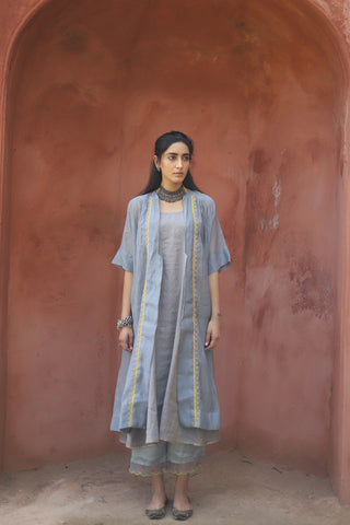 Grey Tissue Chanderi Kurta With Applique Embroidered Jacket & Palazzo