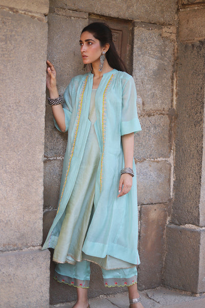 Powder Blue Tissue Chanderi Sleeveless Kurta With Applique Embroidered Jacket & Palazzo