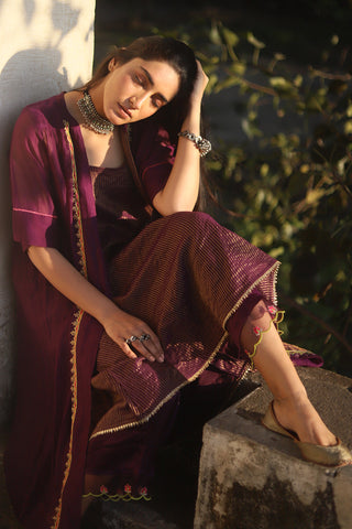 Purple Tissue Chanderi Sleeveless Kurta With Applique Embroidered Jacket & Palazzo