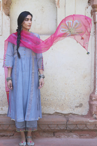 Grey Chanderi Kurta With Embroidered Bell Sleeves & Back Yoke Paired With Floral Embroidered Palazzo & Scalloped Dupatta